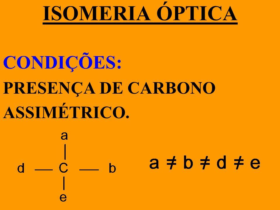 ISOMERIA ÓPTICA CONDIÇÕES: PRESENÇA DE CARBONO ASSIMÉTRICO.