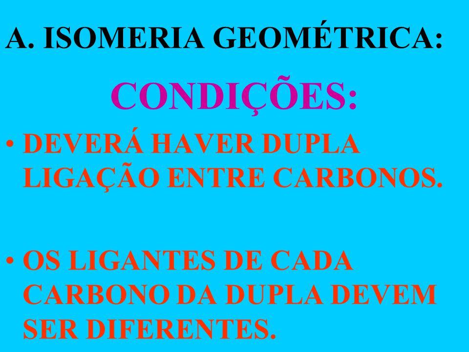 A. ISOMERIA GEOMÉTRICA:
