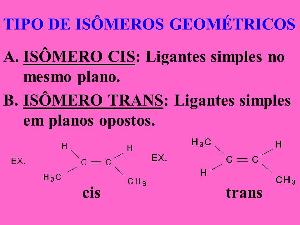 TIPO DE ISÔMEROS GEOMÉTRICOS