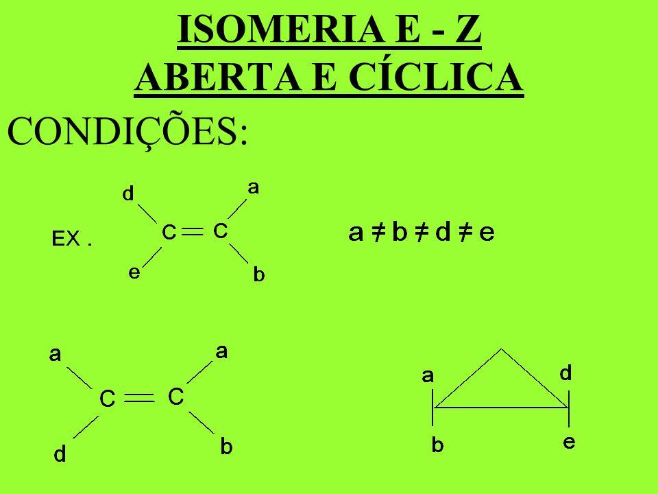 ISOMERIA E - Z ABERTA E CÍCLICA