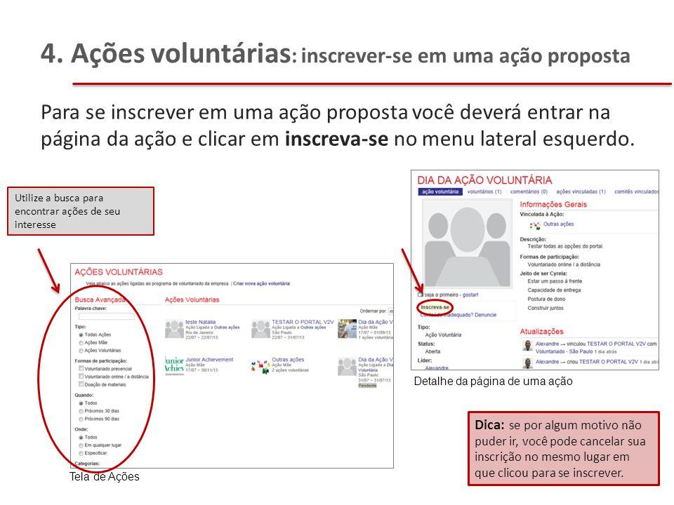 4. Ações voluntárias: inscrever-se em uma ação proposta