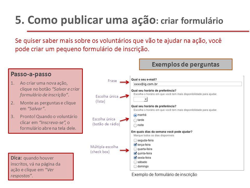 5. Como publicar uma ação: criar formulário
