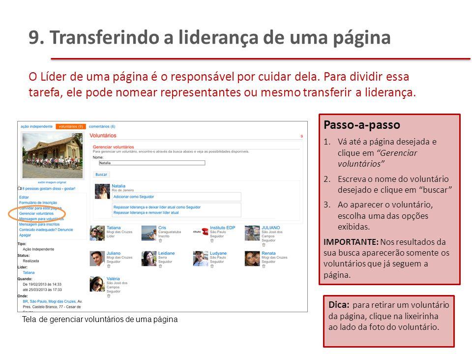 9. Transferindo a liderança de uma página