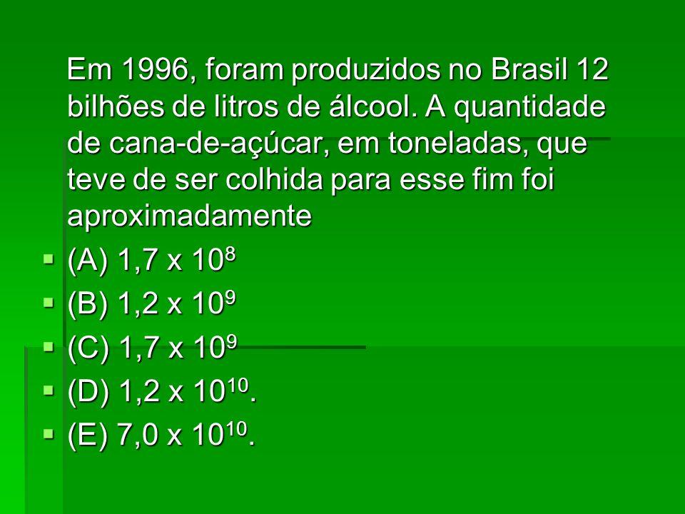 Em 1996, foram produzidos no Brasil 12 bilhões de litros de álcool