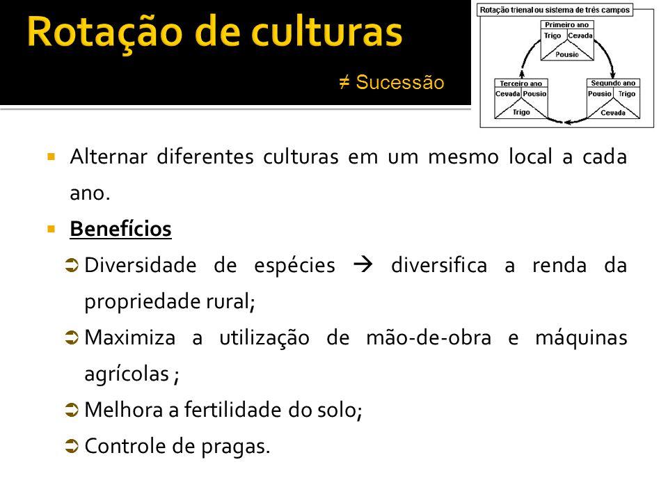 Rotação de culturas ≠ Sucessão. Alternar diferentes culturas em um mesmo local a cada ano. Benefícios.