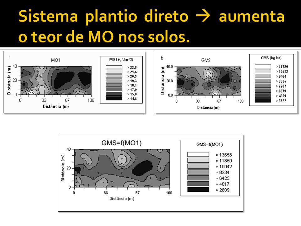 Sistema plantio direto  aumenta o teor de MO nos solos.