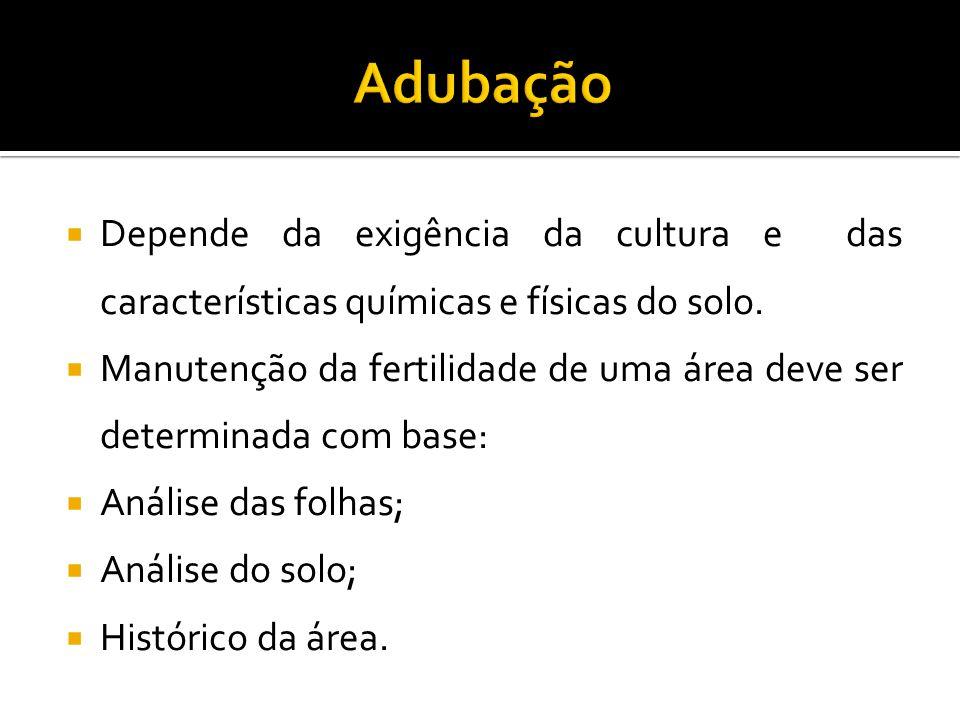 Adubação Depende da exigência da cultura e das características químicas e físicas do solo.
