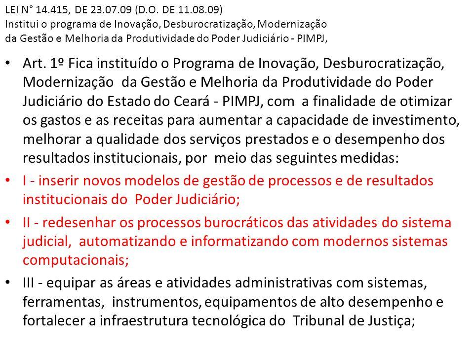 LEI N° 14.415, DE 23.07.09 (D.O. DE 11.08.09) Institui o programa de Inovação, Desburocratização, Modernização da Gestão e Melhoria da Produtividade do Poder Judiciário - PIMPJ,