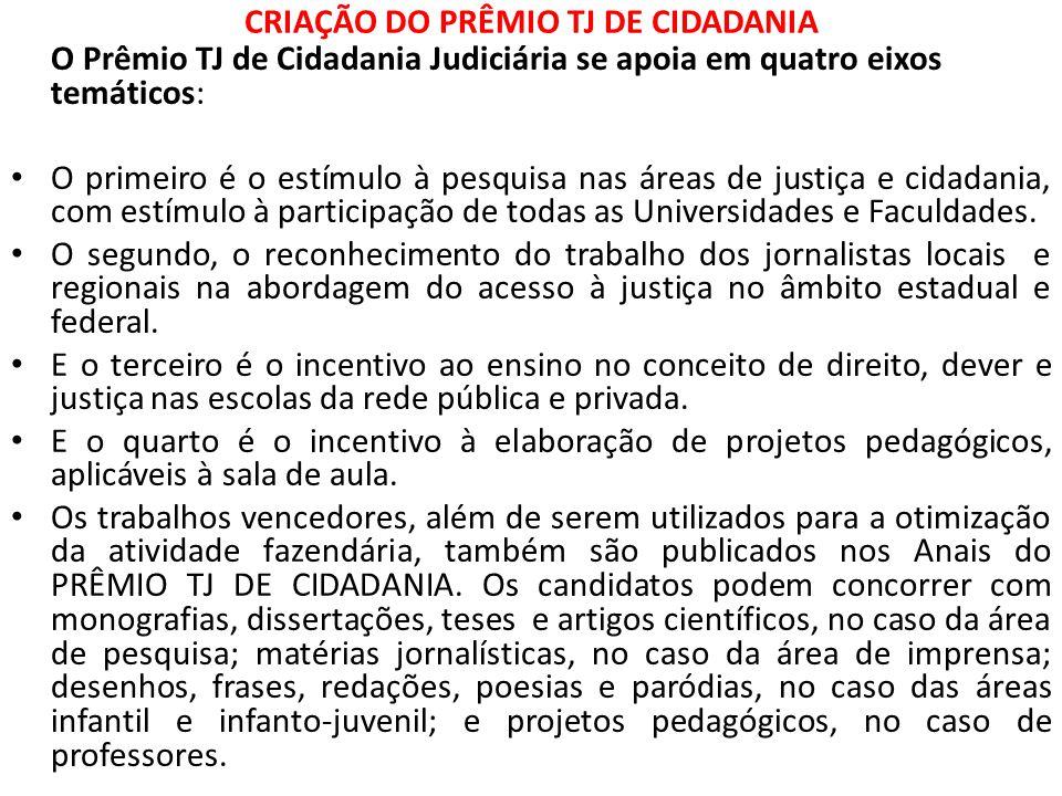 CRIAÇÃO DO PRÊMIO TJ DE CIDADANIA