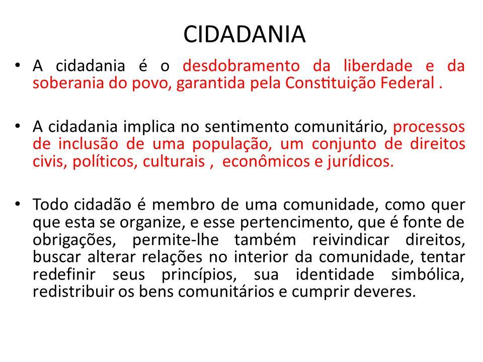 CIDADANIA A cidadania é o desdobramento da liberdade e da soberania do povo, garantida pela Constituição Federal .