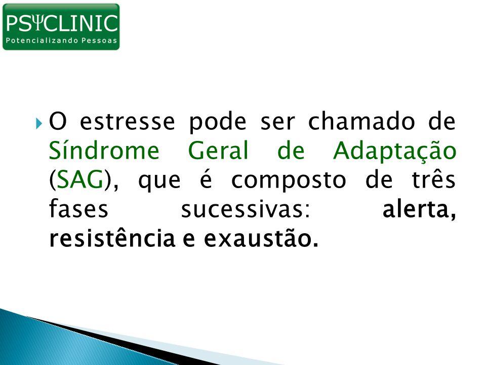 O estresse pode ser chamado de Síndrome Geral de Adaptação (SAG), que é composto de três fases sucessivas: alerta, resistência e exaustão.