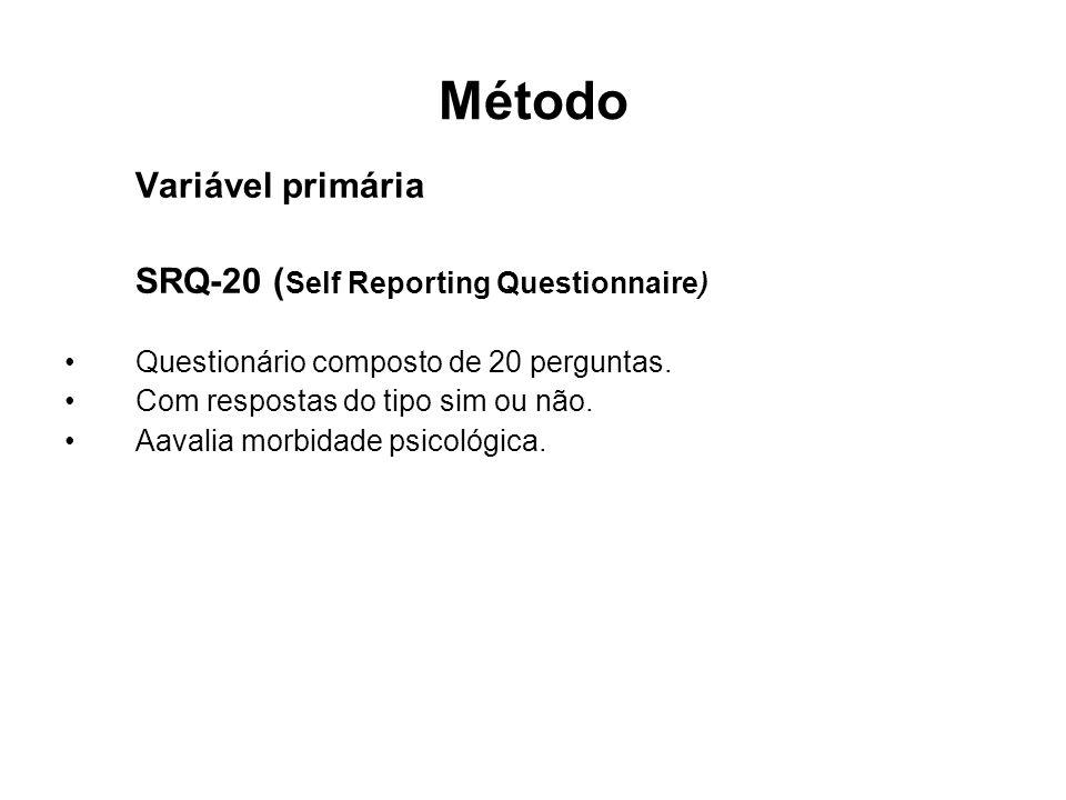 Método Variável primária SRQ-20 (Self Reporting Questionnaire)