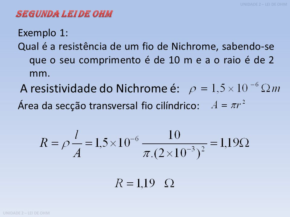 A resistividade do Nichrome é: