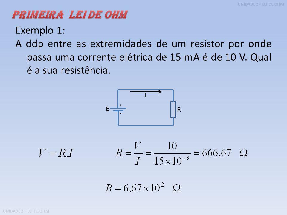 PRIMEIRA LEI DE OHM Exemplo 1: