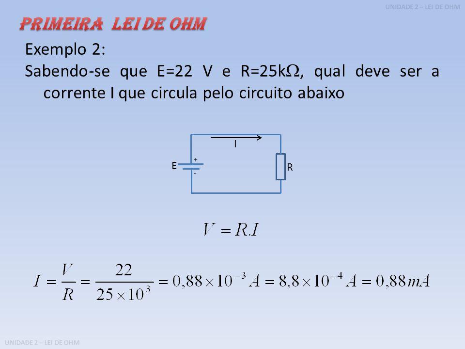 PRIMEIRA LEI DE OHM Exemplo 2: