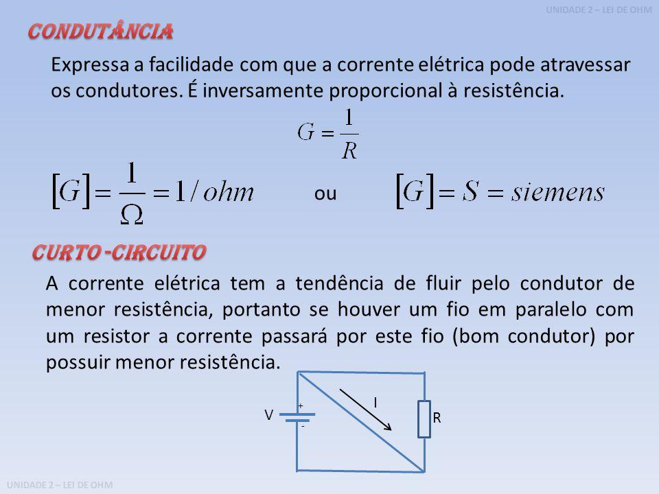 Condutância Expressa a facilidade com que a corrente elétrica pode atravessar os condutores. É inversamente proporcional à resistência.