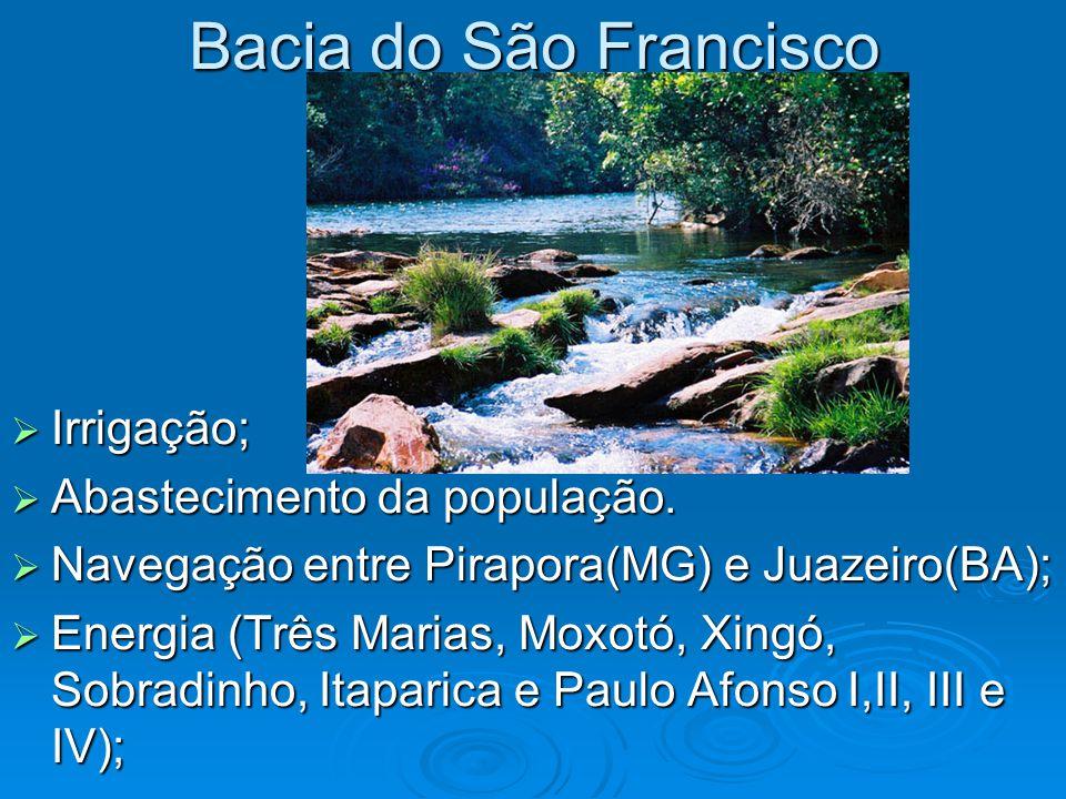 Bacia do São Francisco Irrigação; Abastecimento da população.