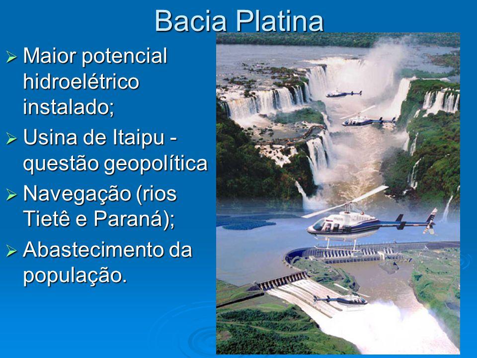 Bacia Platina Maior potencial hidroelétrico instalado;