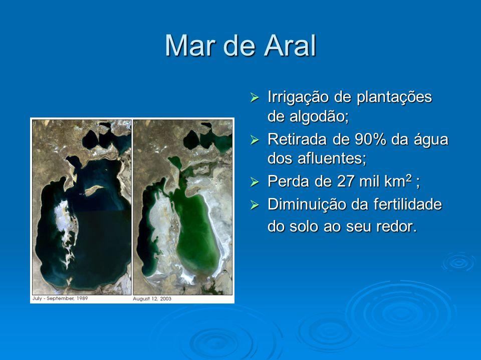 Mar de Aral Irrigação de plantações de algodão;