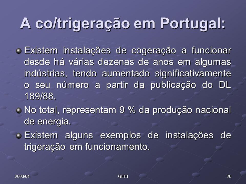 A co/trigeração em Portugal: