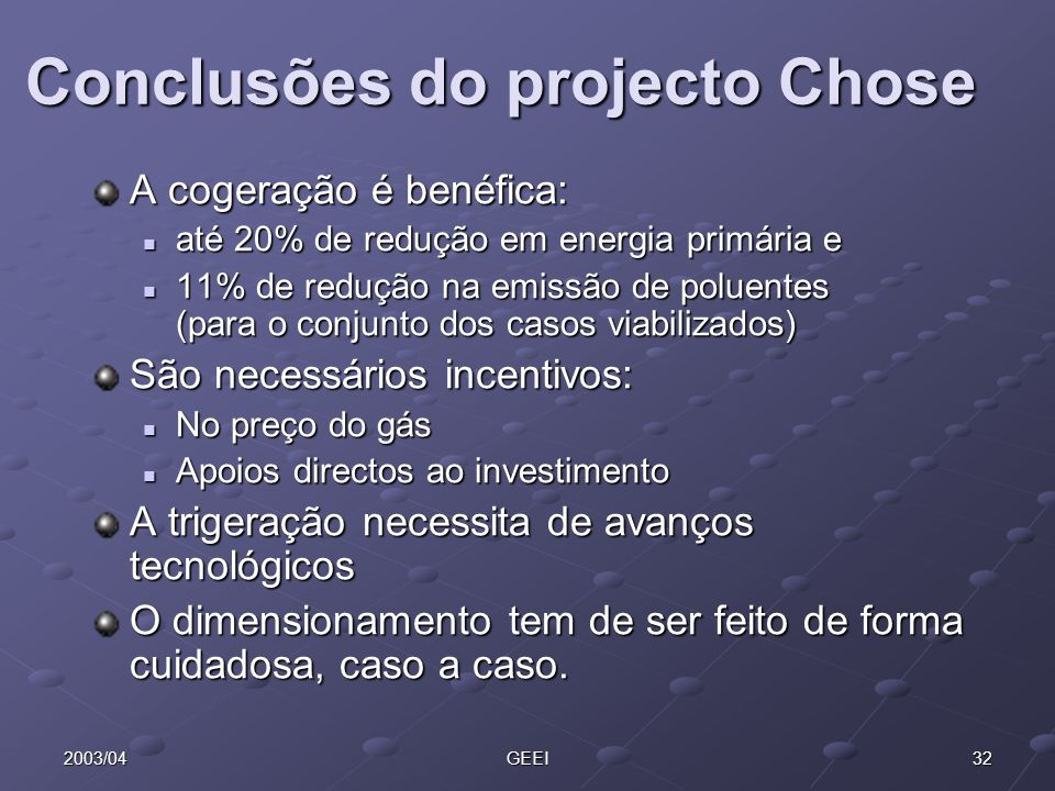 Conclusões do projecto Chose