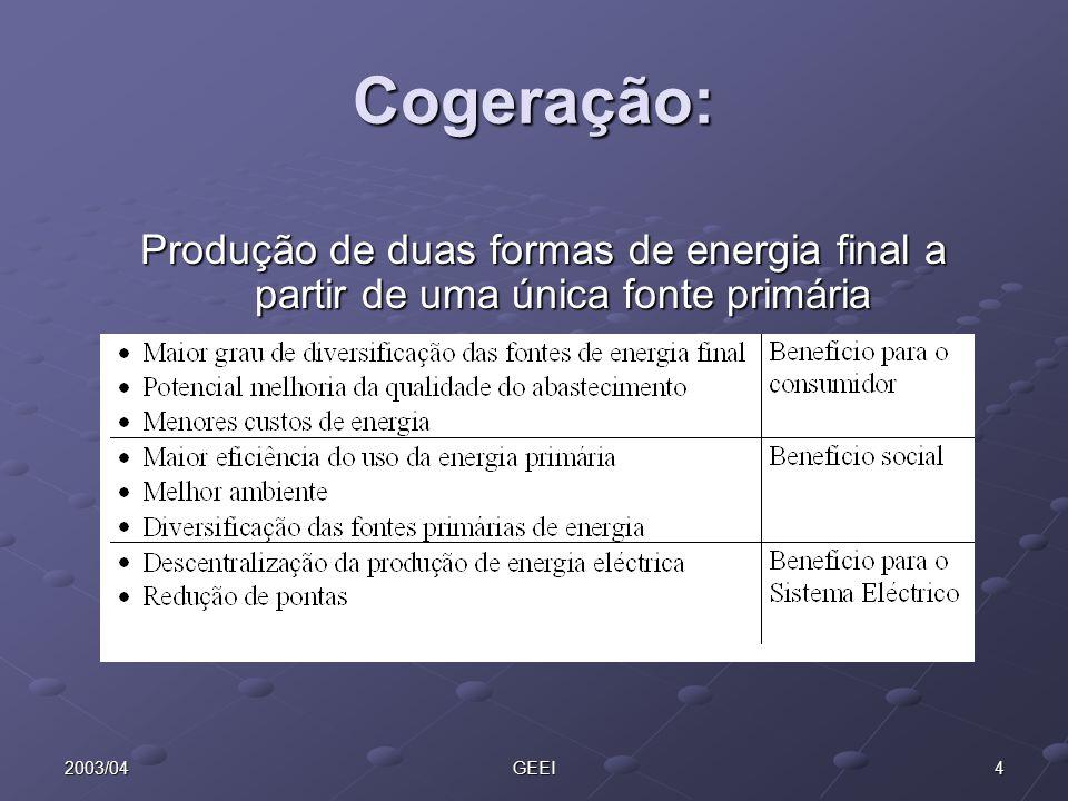 Cogeração: Produção de duas formas de energia final a partir de uma única fonte primária. 2003/04.