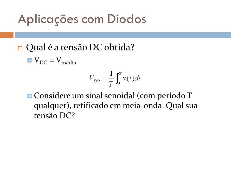 Aplicações com Diodos Qual é a tensão DC obtida VDC = Vmédia
