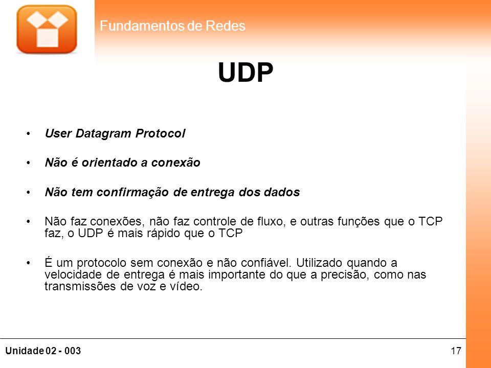 UDP User Datagram Protocol Não é orientado a conexão