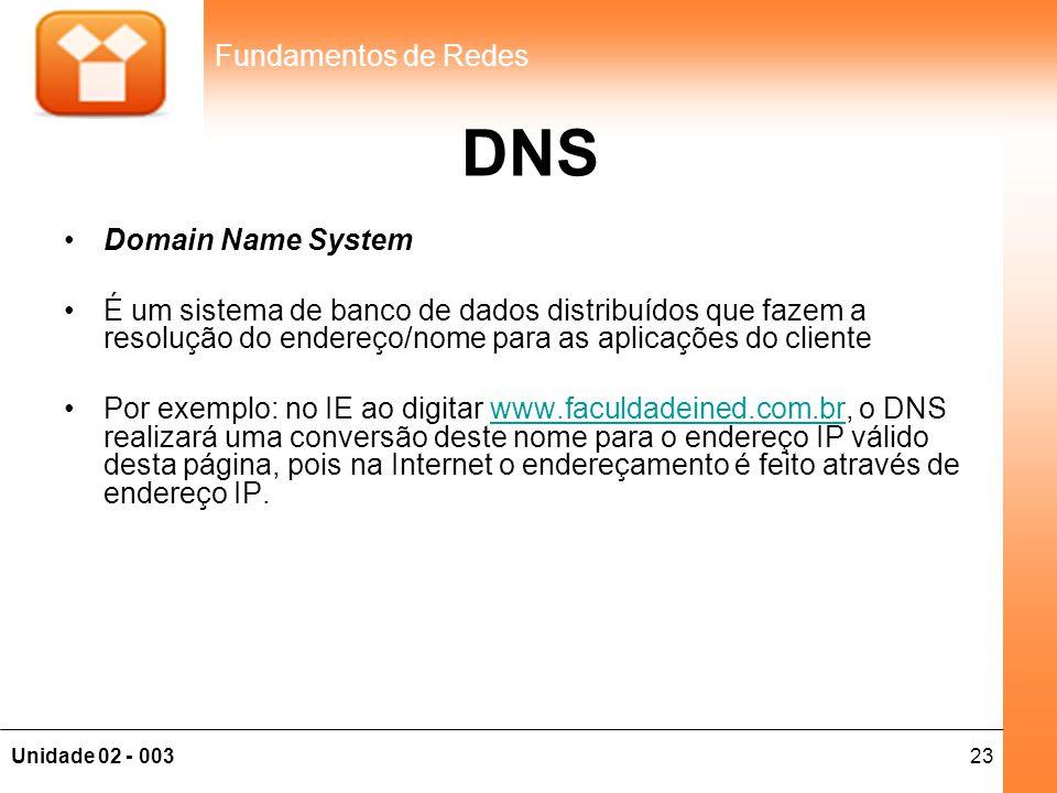 DNS Domain Name System. É um sistema de banco de dados distribuídos que fazem a resolução do endereço/nome para as aplicações do cliente.