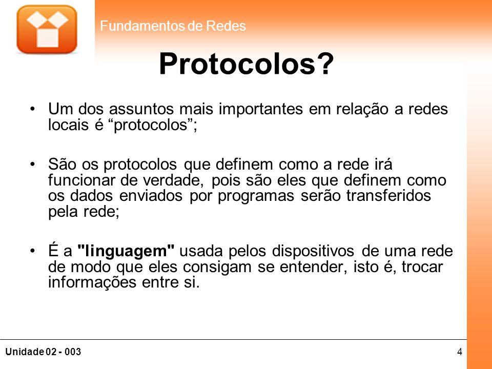 Protocolos Um dos assuntos mais importantes em relação a redes locais é protocolos ;