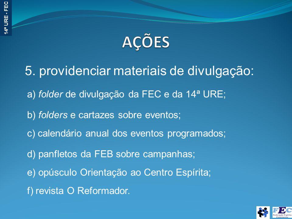 AÇÕES 5. providenciar materiais de divulgação: