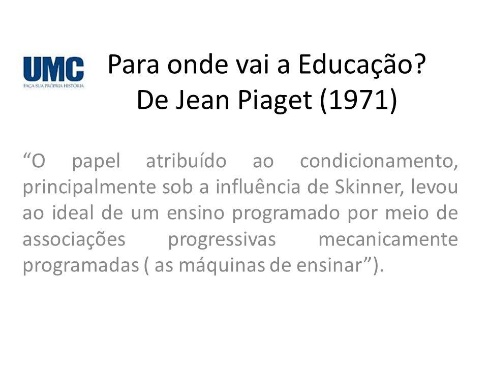 Para onde vai a Educação De Jean Piaget (1971)
