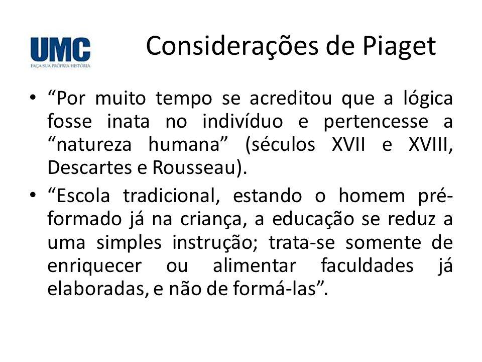 Considerações de Piaget