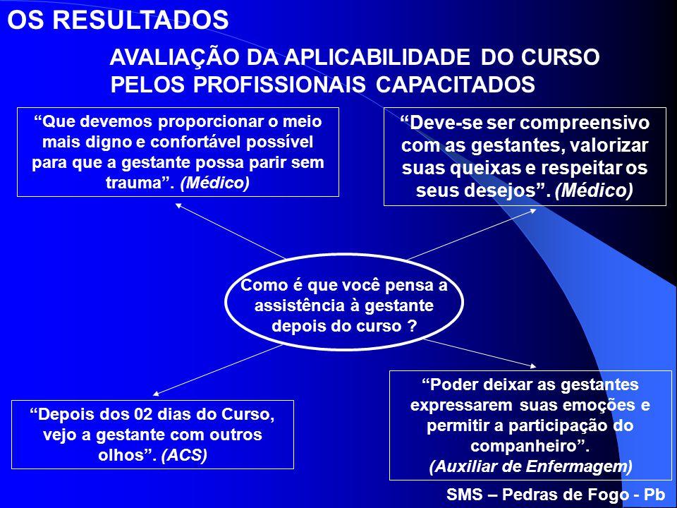 OS RESULTADOS AVALIAÇÃO DA APLICABILIDADE DO CURSO