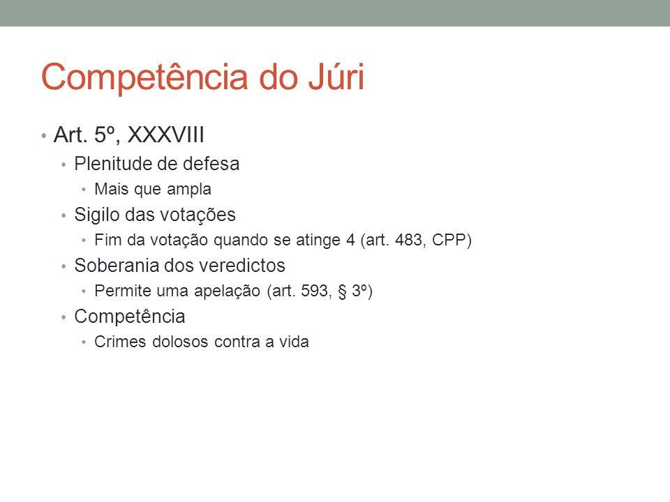 Competência do Júri Art. 5º, XXXVIII Plenitude de defesa