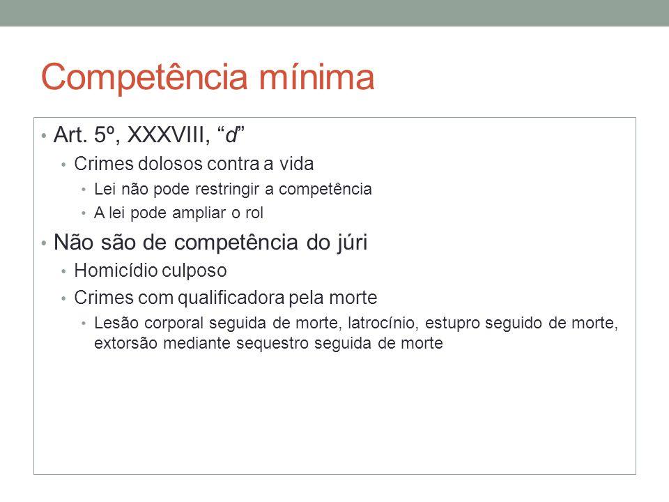 Competência mínima Art. 5º, XXXVIII, d