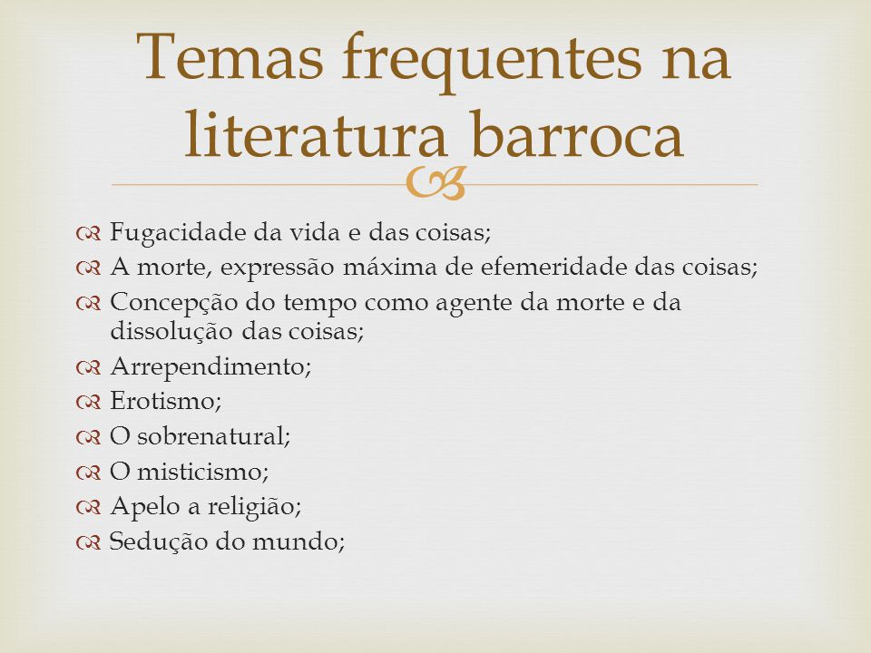 Temas frequentes na literatura barroca