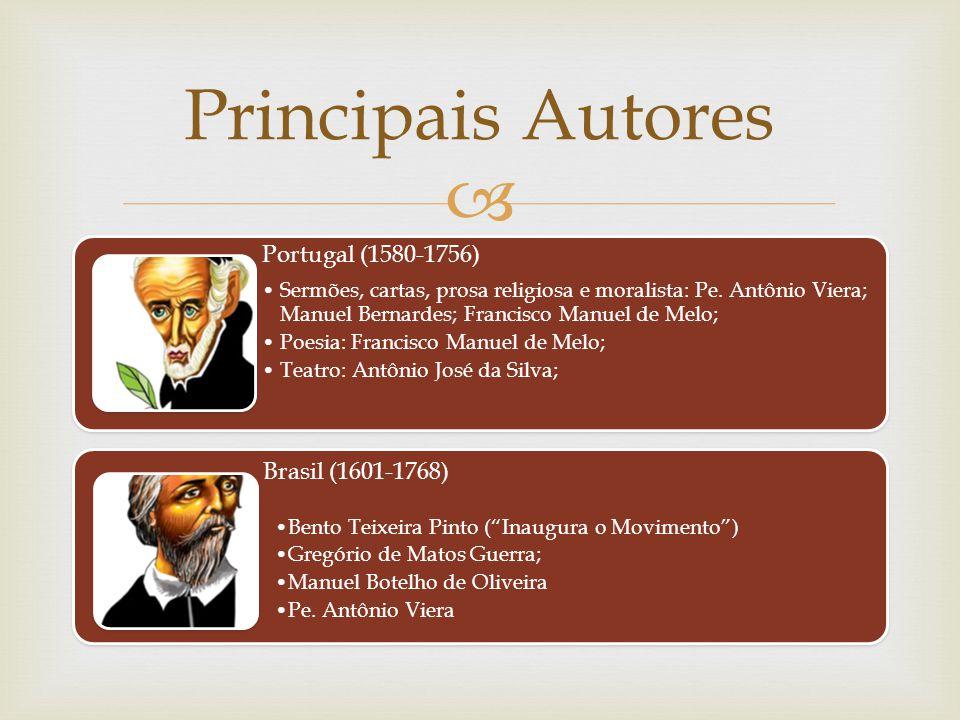 Principais Autores Portugal (1580-1756) Brasil (1601-1768)