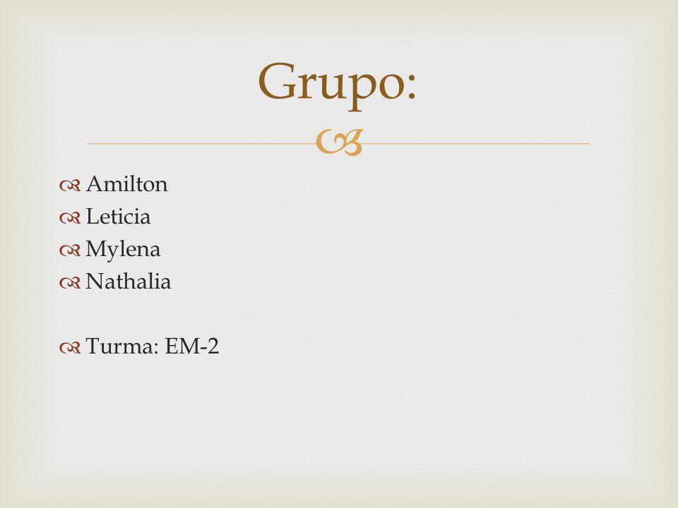 Grupo: Amilton Leticia Mylena Nathalia Turma: EM-2