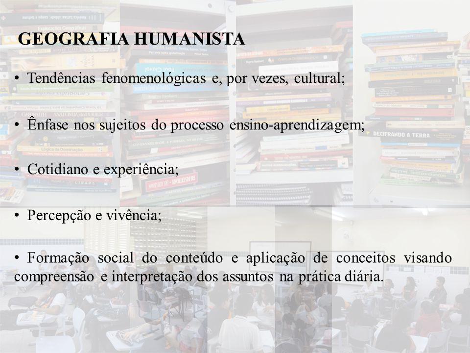 GEOGRAFIA HUMANISTA Tendências fenomenológicas e, por vezes, cultural;