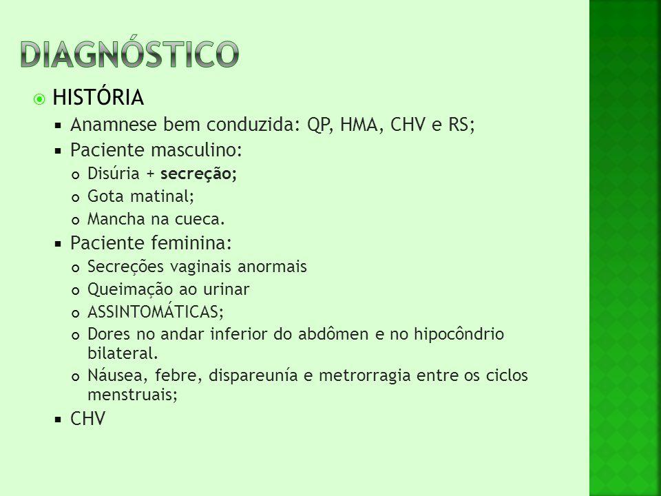 DIAGNÓSTICO HISTÓRIA Anamnese bem conduzida: QP, HMA, CHV e RS;