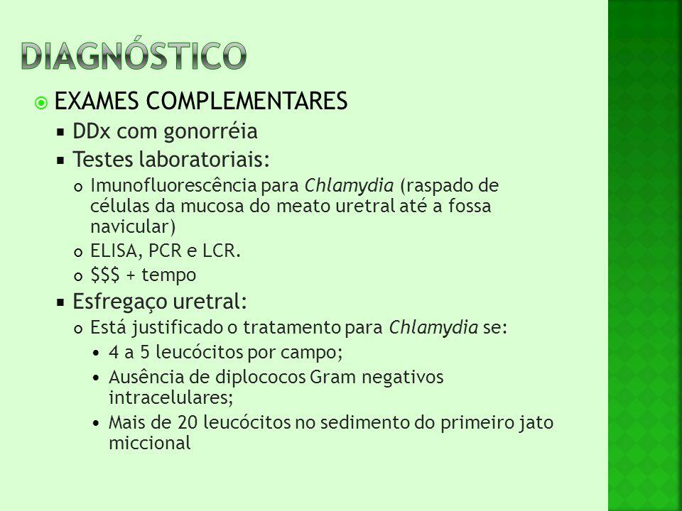 DIAGNóSTICO EXAMES COMPLEMENTARES DDx com gonorréia