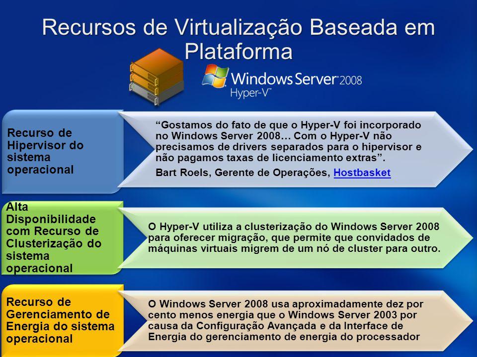 Recursos de Virtualização Baseada em Plataforma