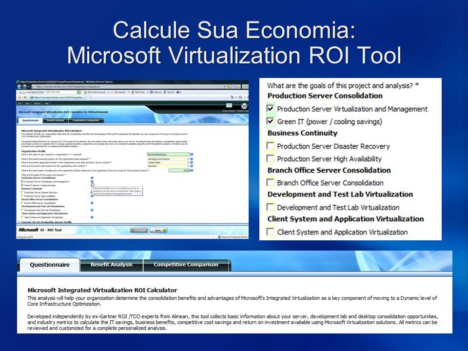 Calcule Sua Economia: Microsoft Virtualization ROI Tool