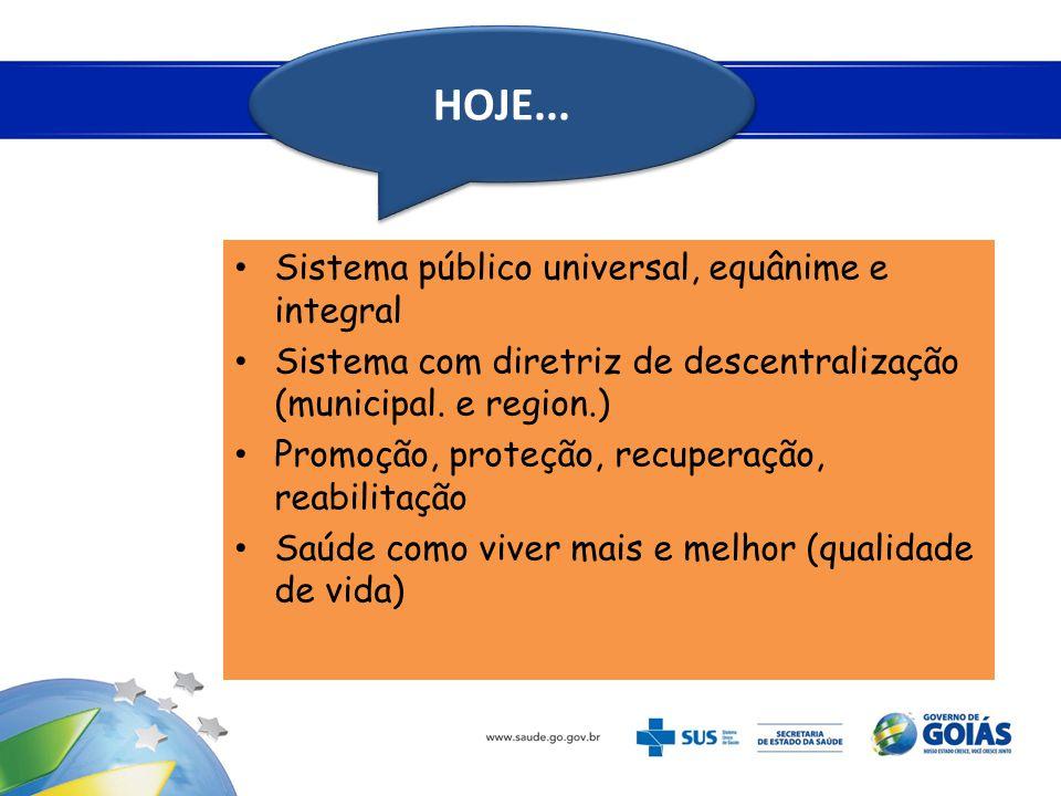 HOJE... Sistema público universal, equânime e integral