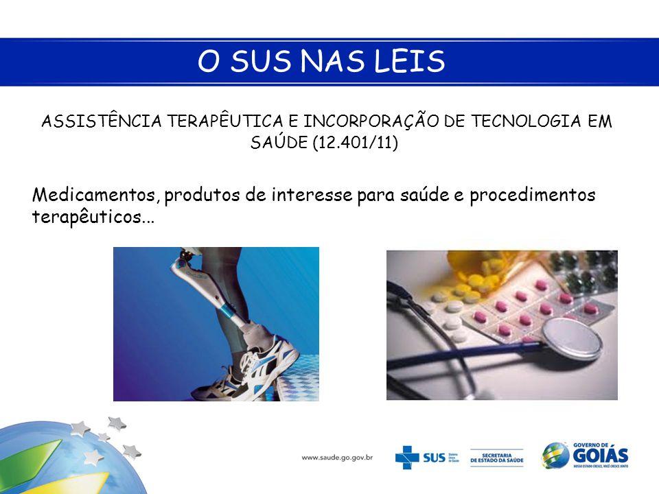 O SUS NAS LEIS ASSISTÊNCIA TERAPÊUTICA E INCORPORAÇÃO DE TECNOLOGIA EM SAÚDE (12.401/11)