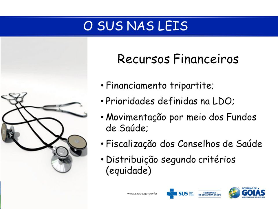O SUS NAS LEIS Recursos Financeiros Financiamento tripartite;