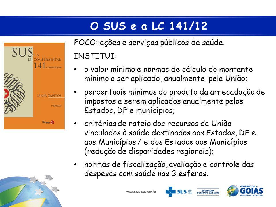 O SUS e a LC 141/12 FOCO: ações e serviços públicos de saúde.