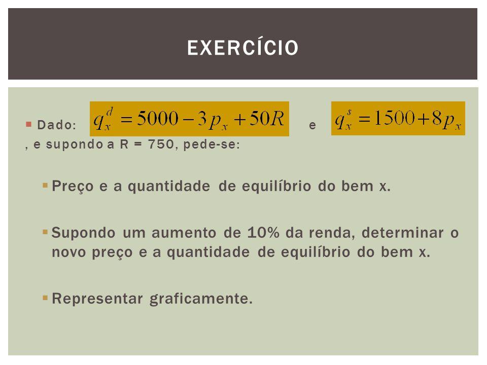 Exercício Preço e a quantidade de equilíbrio do bem x.
