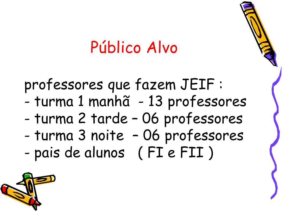 Público Alvo professores que fazem JEIF : - turma 1 manhã - 13 professores - turma 2 tarde – 06 professores - turma 3 noite – 06 professores - pais de alunos ( FI e FII )